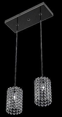 Pendente Retangular Alumínio Espelhado Cúpula Cilíndrica Cristal 2 Lâmpadas 30x12 New Design G9 815/2p Cozinhas e Quartos