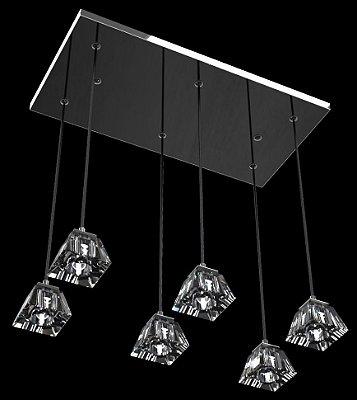 Pendente Retangular Alumínio Espelhado Pirâmide Cristal Transparente 6 Lâmpadas 60x30 New Design G9 821/6 Entradas e Salas