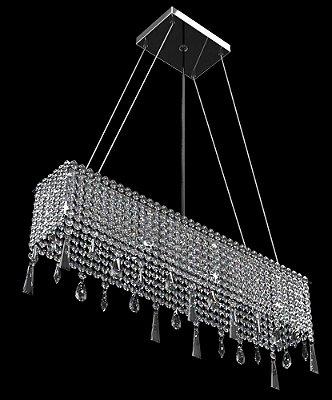 Pendente Retangular Espelhado Cristal Castanha Transparente 4 Lâmpadas 60x11 New Design G9 930/60c Entradas e Salas