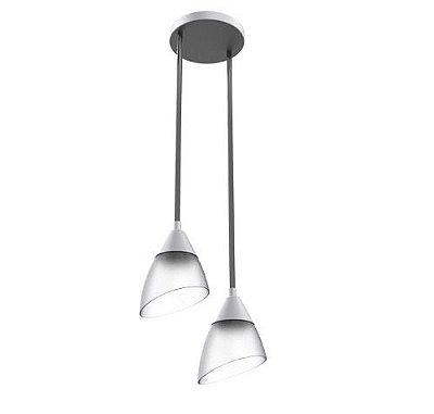 Pendente Duplo Tulipa Alumínio Escovado Cúpula Vidro Ø21x1500 New Design E-27 225/2 Salas e Quartos