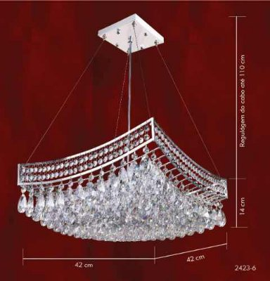 Pendente Berço Cromado Cristal Asfour Transparente 6 Lâmpadas 42x42 Mr Iluminação G9 2423-6-pd Salas e Hall