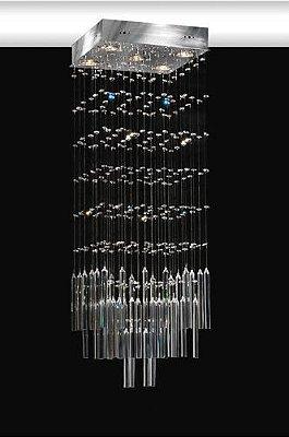 Lustre Quadrado Cromado Cristal Intercalado Tubo Transparente 9 Lâmpadas 50x50 Sevilha Torres Gu10 1612 Salas e Hall