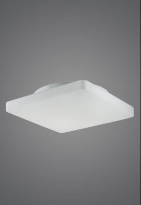 Plafon Quadrado Slim Sobrepor Vidro Leitoso Fosco Acetinado 45x45 Antares Madelustre E-27 2475 Banheiros e Quartos