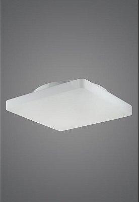 Plafon Quadrado Sobrepor Vidro Leitoso Fosco Acetinado 35x35 Antares Madelustre E-27 2474 Banheiros e Cozinhas