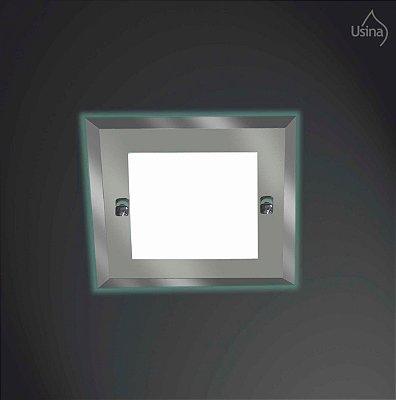 Plafon Sobrepor Quadrado Alumínio Espelhado 25x25 Ômega Usina Design E-27 101/2 Salas e Quartos