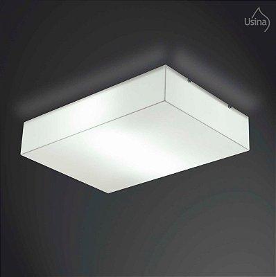 Plafon Sobrepor Acrílico Leitoso Branco Retangular 24x33 Usina Design Polar E-27 10124/33 Para Cozinhas e Salas