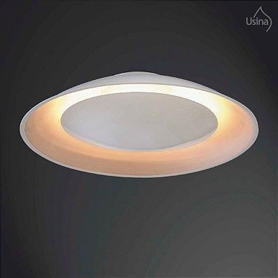 Plafon Sobrepor Redondo Branco Luz Indireta Sofisticado Ø41cm Eclipse Usina Design G9 238/5 Salas e Quartos