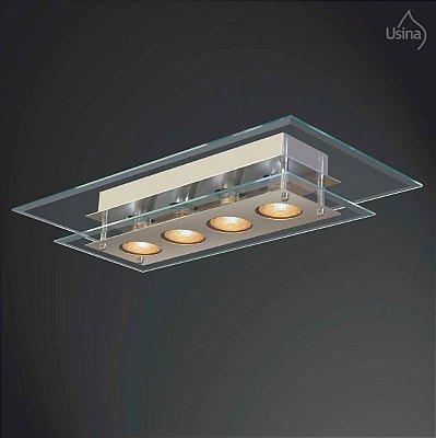 Plafon Retangular Sobrepor Vidro Bisotê Transparente 4mm 30x60 New Beta Usina Design E-27 227/4 Quartos e Salas