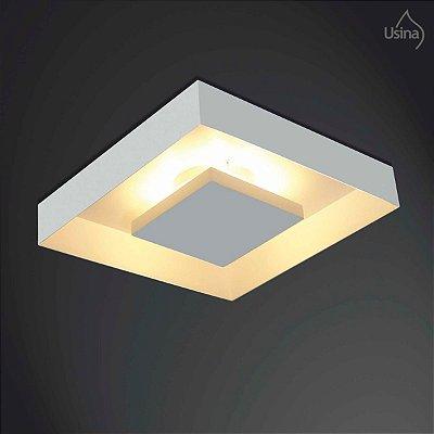 Plafon Sobrepor Quadrado Branco Luz Indireta 20x20 Home Usina Design G9 251/2 Salas e Cozinhas