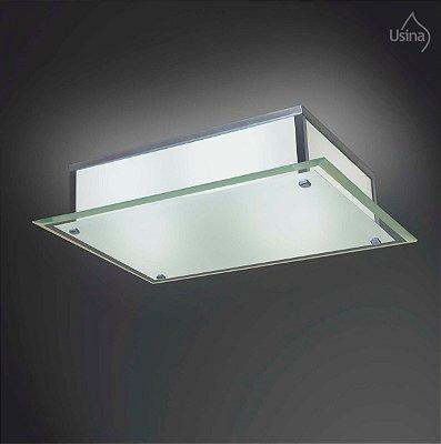 Plafon Sobrepor Retangular Cromo Vidro Bisotê Fosco 4mm 35x25 Fenix Usina Design E-27 26/2 Quartos e Banheiros