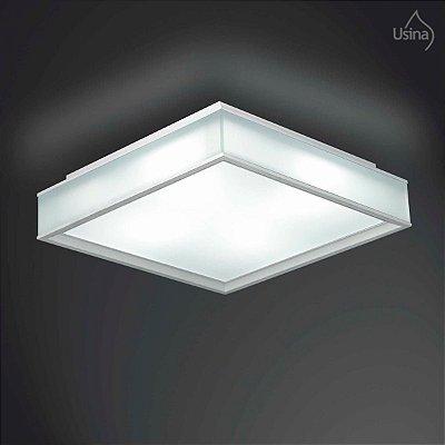 Plafon Quadrado Branco Sobrepor Vidro Fosco 49x49 Esplendor Usina Design E-27 3050/49 Quartos e Salas
