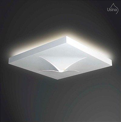 Plafon Sobrepor Quadrado Alumínio Branco Luz Indireta 20x20 Vega Usina Design G9 3150/20 Escritórios e Salas