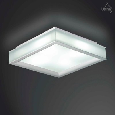 Plafon Sobrepor Quadrado Branco Vidro Fosco 24x24 Usina Design E-27 3120/24 Quartos e Corredores