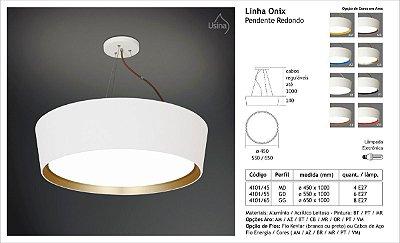 Pendente Redondo Acrílico Branco Aro Colorido Decorativo Ø45 Onix Usina Design E-27 4101/45 Cozinhas e Salas
