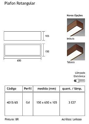 Plafon Sobrepor Retangular Alumínio Acrílico Leitoso 15x65 Tropical Usina Design E-27 4015/65 Corredores e Salas