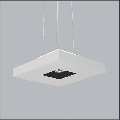 Pendente Quadrado Acrílico Texturizado Decorativo 40x40 Bore Usina Design 4 E27 + 01 Dicróica 4601/40 Quartos e Hall