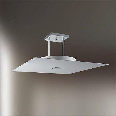 Plafon Sobrepor Quadrado Alumínio Fosco Branco c/ Hastes 50x50cm Golden Art E-27 T113 Salas e Quartos