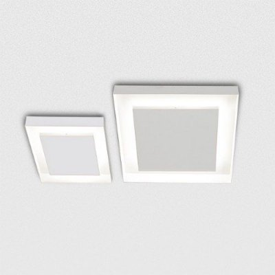 Plafon Sobrepor Quadrado Alumínio Fosco Branco 50x50 Sanca Golden Art G9 T117-50 Quartos e Cozinhas