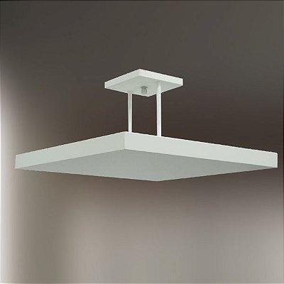 Plafon Sobrepor Quadrado Alumínio Fosco Branco Slim 40x40cm Golden Art Halógena T116-40 Salas e Quartos