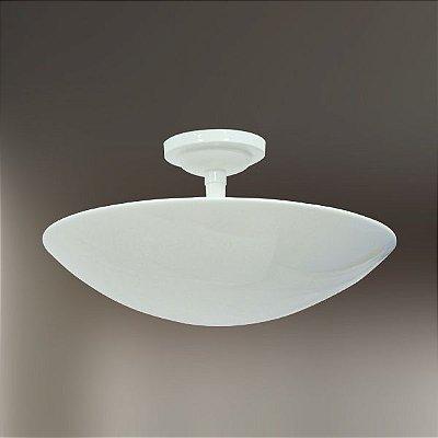 Plafon Oval Curvo Alumínio Fosco Branco Ø40 Golden Art E-27 T289-40 Lavabos e Corredores