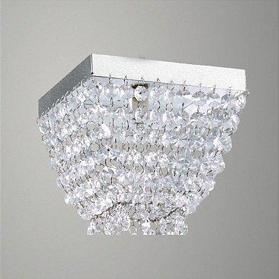 Plafon Sobrepor Quadrado Alumínio Cromado Cristal Asfour Transparente 15x15 Golden Art G9 T282-A Banheiros e Salas