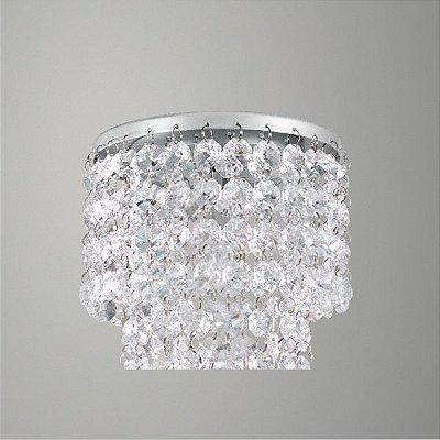 Plafon Sobrepor Redondo Alumínio Cromado Cristal Asfour Transparente Ø13 Golden Art G9 T279-A Quartos e Salas