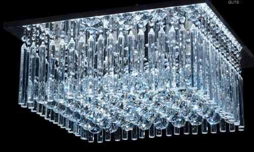 Plafon Quadrado Cristal Asfour Transparente Lapidado Placas e Bolas 50x50 DNA Halopin QUTB-50X50 Hall e Salas