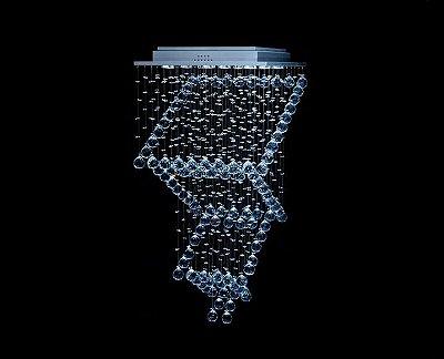 Lustre Quadrado Cromado Escada Cristal Transparente 6 Lâmpadas 47x90 DNA Gu10 Qu009-esc Salas e Hall