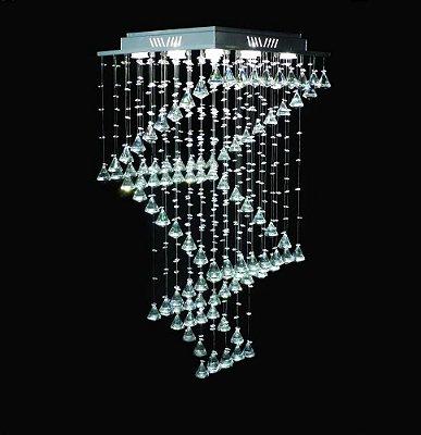 Lustre Quadrado Inox Espiral Pião Cromado Cristal Transparente 9 Lâmpadas 47x47 DNA Gu10 Qu-005-esp-piao Entradas e Quartos