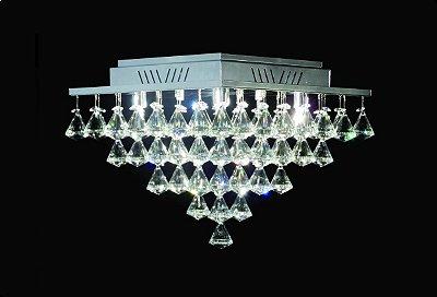 Plafon Quadrado Sobrepor Pião Inox Cristal Transparente Asfour 37x37 DNA Halopin Qubp-005 P Banheiros e Quartos