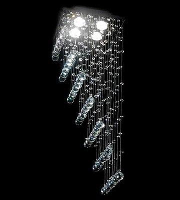 Lustre Quadrado Cromado Rampa Cristal Transparente 4 Lâmpadas 27x70 DNA Gu10 Qu004/30-rmp Cozinhas e Salas