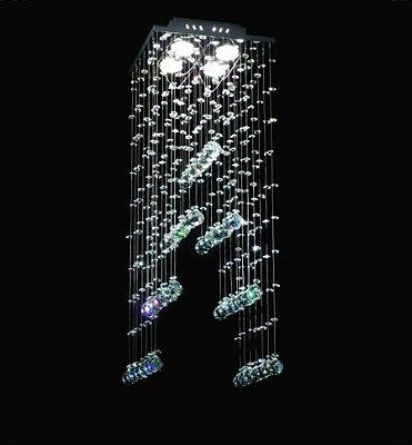 Lustre Quadrado Cromado Pirâmide Cristal Transparente 4 Lâmpadas 27x70 DNA Gu10 Qu004/30 Salas e Hall