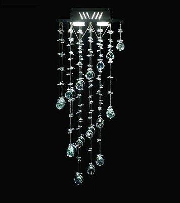 Lustre Quadrado Intercalado Cristal Translúcido 4 Lâmpadas 27x70 Cn DNA Gu10 Qu-004/30 Cozinhas e Quartos
