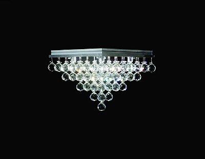 Plafon Sobrepor Quadrado Inox Cristal Transparente Pirâmide Asfour 37x37 DNA Halopin Qubpq-005 Quartos e Salas