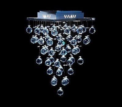 Plafon Quadrado Inox Cristal Asfour Transparente Intercalado 32x32 DNA GU10 Qu-004 Quartos e Salas
