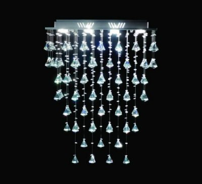 Lustre Retangular Inox Pião Cristal Intercalado Transparente 8 Lâmpadas 60x30 DNA Gu10 Rt-008p Entradas e Quartos