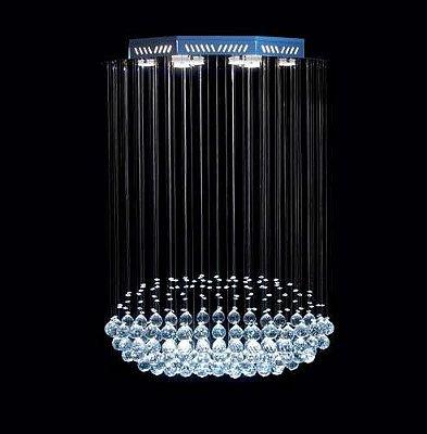 Lustre Oval Cromado Torpedo Cristal Translúcido 8 Lâmpadas 70x40 DNA Gu10 Trp-008 Cozinhas e Salas