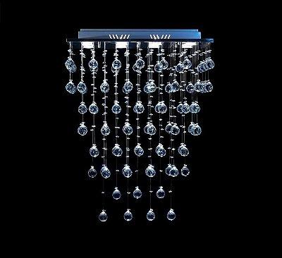 Lustre Retangular Cromado Cristal Intercalado Transparente 5 Lâmpadas 65x85 DNA Gu10 Rt-008 Rmp Quartos e Salas