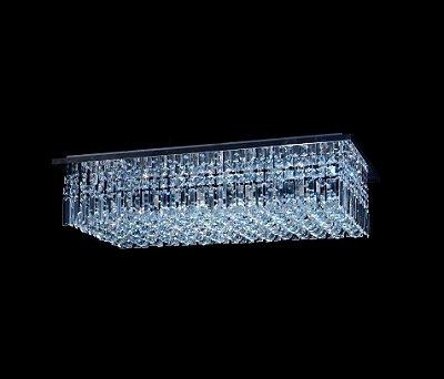 Plafon Sobrepor Retangular Inox Cristal Lapidado Placas e Bolas 80x40 DNA Halopin Rtpb-80x40 Banheiros e Quartos