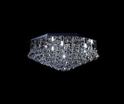 Plafon Sobrepor Redondo Inox Cristal Asfour Pião Ø60 DNA Halopin Rd-013 P Banheiros e Quartos