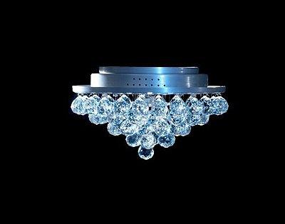 Plafon Redondo Inox Fosco Cristal Transparente Asfour Pirâmide Ø20 DNA Halopin Rd-005p Banheiros e Quartos