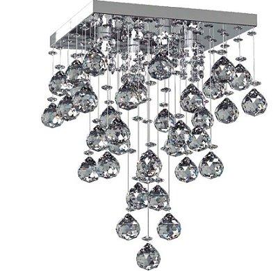 Plafon Sobrepor Translúcido Quadrado Cristal K9 15x15 New Design G9 301/15 Quartos e Lavabos