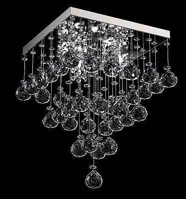 Plafon Sobrepor Quadrado Aço Inox Cristal K9 Transparente 15x15 New Design G9 300/15 Salas e Quartos