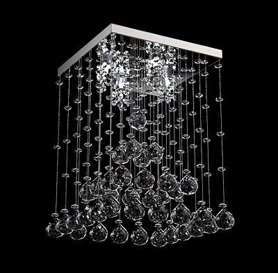 Plafon Sobrepor Pirâmide Cristal K9 Transparente Inox 28x28 New Design G9 302/28 Hall e Salas