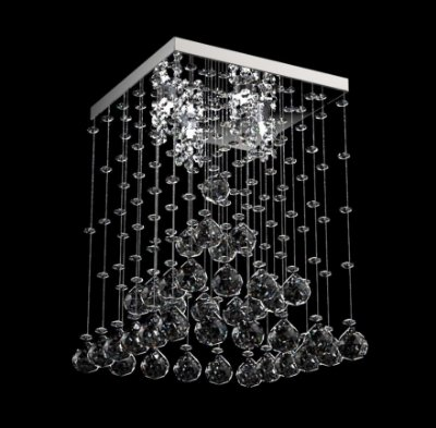 Plafon Sobrepor Pirâmide Cristal Transparente K9 Inox 32x32 New Design G9 302/32 Hall e Salas