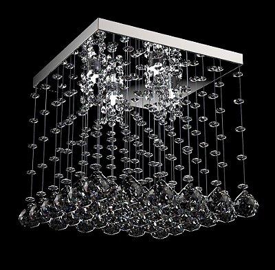 Plafon Quadrado Cristal K9 Transparente Inox Espelhado 28x28 New Design G9 303/28 Salas e Quartos