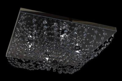 Plafon Sobrepor Quadrado Cristal K9 Transparente Inox 42x42 New Design G9 960q/42 Lavabos e Cozinhas
