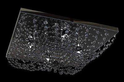 Plafon Sobrepor Quadrado Inox Cristal Transparente 25x25 New Design G9 960q/25 Salas e Escritórios