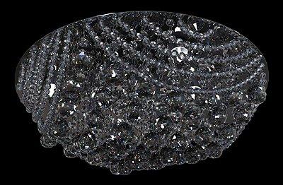 Plafon Sobrepor Redondo Cristal K9 Transparente Inox Espelhado Ø30 New Design G9 950p/30 Salas e Quartos