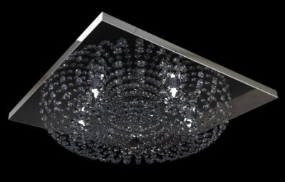 Plafon Sobrepor Redondo em Base Quadrada Cristal Transparente Inox 50x50 New Design G9 960/50 Quartos e Salas